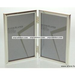Krómozott fém dupla képkeret 13x18 cm