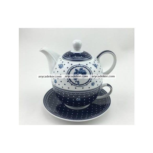 Teás csésze + kanna készlet, kék mintás (22076)