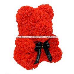 Virág maci 36 cm magas 27 cm széles (piros)
