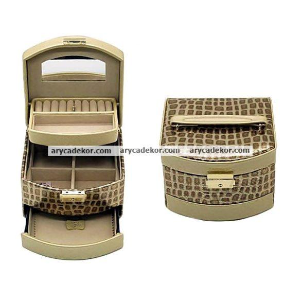 Bőrhatású Ékszerdoboz A21449 GOLD STONE