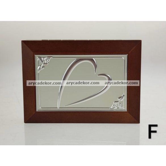 Fa ékszerdoboz tükörrel 18x13 cm