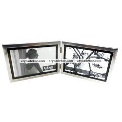 Alumínium fém dupla fényképtartó 15x10  cm