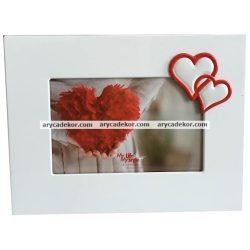 Fém festett, szív díszítésű képkeret 10x15 cm