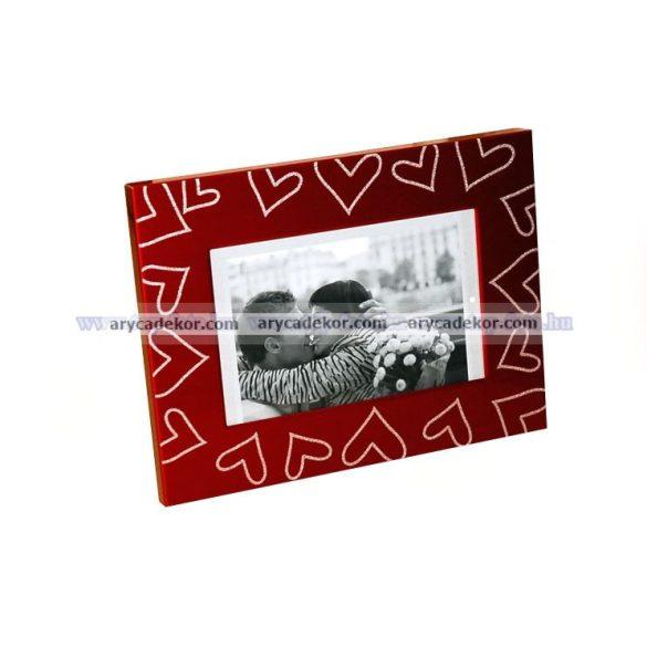 Fém festet, szív diszítésű képkeret 10x15 cm