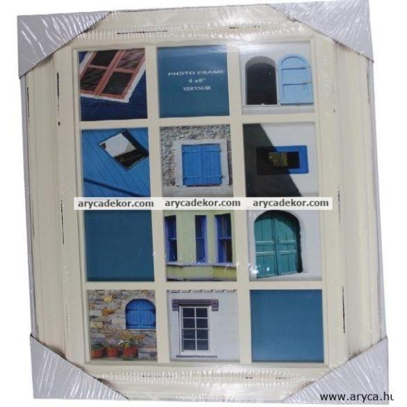 Krém színű műanyag képkeret 12 db 10 x 15 cm-es kép számára.