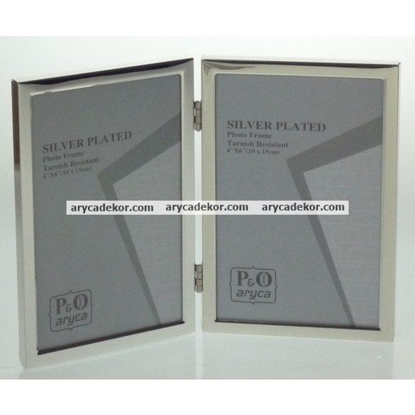 Krómozott fém dupla képkeret 10x15 cm/2 db