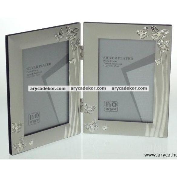 Matt ezüst fém dupla képkeret szívecskés króm díszítéssel 10x15 cm/2 db