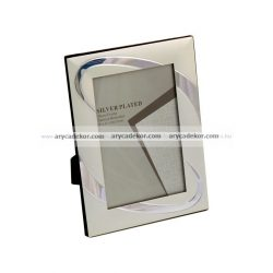 Matt ezüst fém képkeret króm díszítéssel 20x25 cm