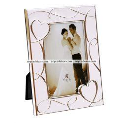 Esküvői kézzel polírozott, festett  képkeret 10x15 cm