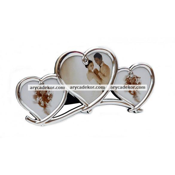 Esküvői tripla szív alakú fényképtartó 14x29 cm