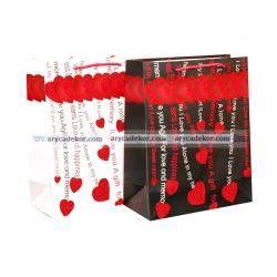 Glitteres szíves ajándéktasak méret: nagy (32x26 cm) 12 db/csomag