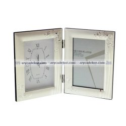 Silver dupla fényképtartó órával 10x15 cm