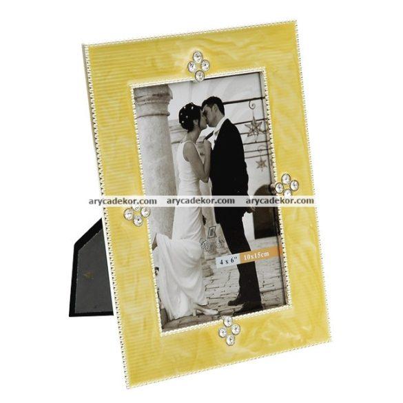 Esküvői kézzel polírozott fém képkeret 10x15 cm