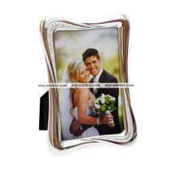 Esküvői fém krómozott képkeret strasszkővel 10x15 cm