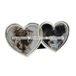 Szív alakú fotóképkeret 2/10x10 cm