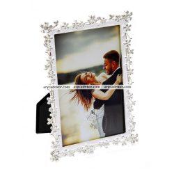 Esküvői fém képkeret strasszkővel 10x15 cm