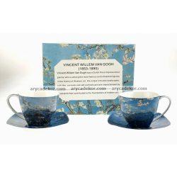 Porcelán bögre szett alátétekkel Van Gogh : Virágzó mandulaágak mintával 250 ml