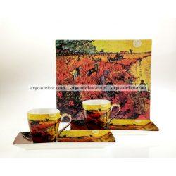 Porcelán eszpresszó szett Van Gogh : Vörös szőlőhegy mintával