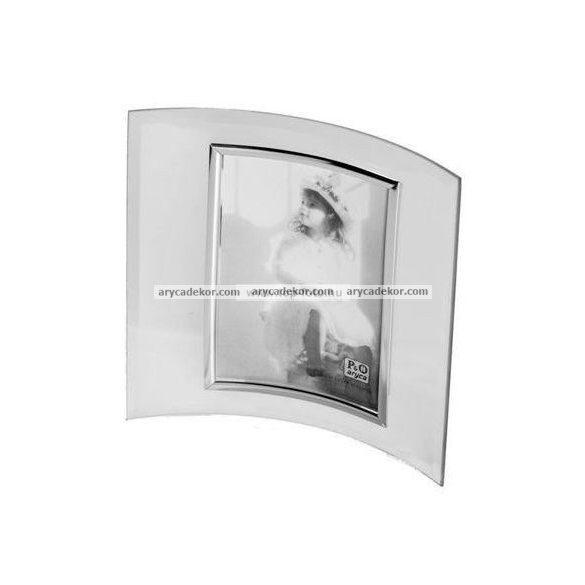 Álló hajlított üveg képkeret ezüst szegéllyel 9x13 cm