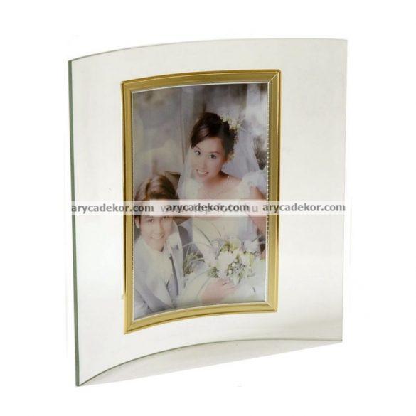 Álló hajlított üveg képkeret arany-ezüst szegéllyel 13x18 cm