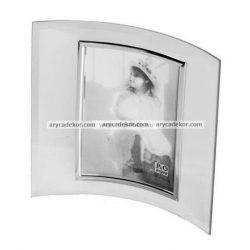 Álló hajlított üveg képkeret ezüst szegéllyel 13x18 cm
