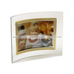 Fekvő hajlított üveg képkeret arany-ezüst szegéllyel 13x18 cm