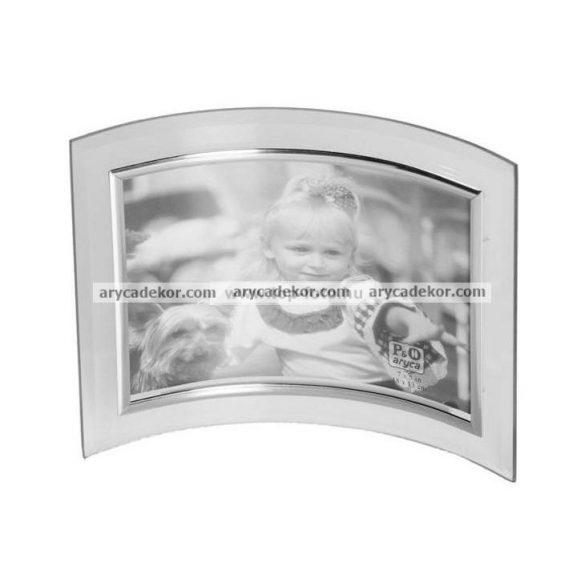 Fekvő hajlított üveg képkeret ezüst szegéllyel 13x18 cm