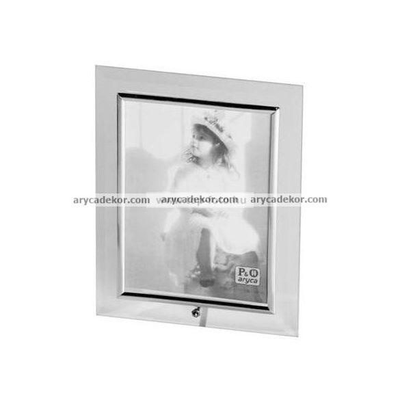 Álló üveg képkeret ezüst szegéllyel 9x13 cm