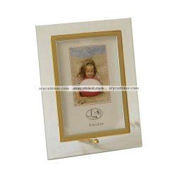 Álló üveg képkeret arany-ezüst szegéllyel 13x18 cm