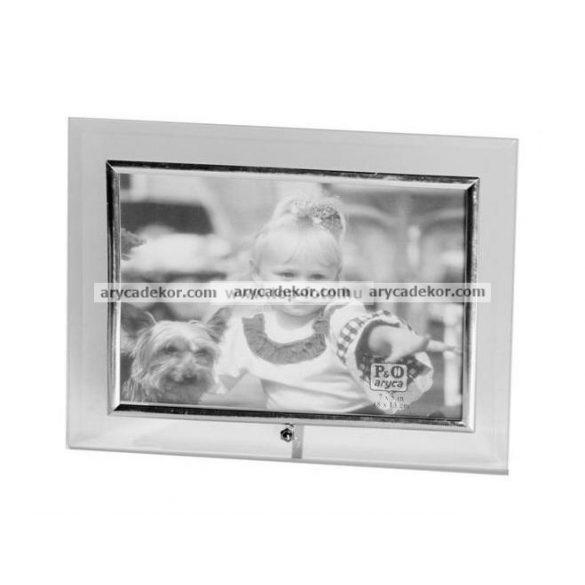 Fekvő üveg képkeret ezüst szegéllyel 10x15 cm