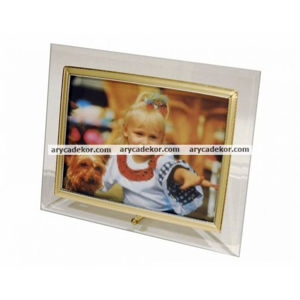 Fekvő üveg képkeret arany-ezüst szegéllyel 13x18 cm