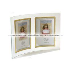 Álló hajlított dupla üveg képkeret arany-ezüst szegéllyel 10x15 cm/2 db