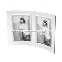 Álló hajlított dupla üveg képkeret ezüst szegéllyel 10x15 cm/2 db