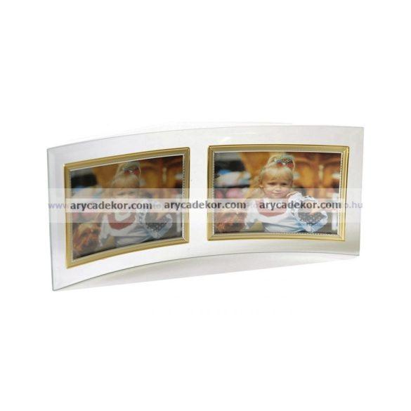Fekvő hajlított dupla üveg képkeret arany-ezüst szegéllyel 10x15 cm