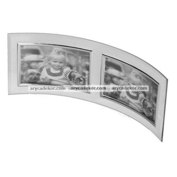 Fekvő hajlított dupla üveg képkeret ezüst szegéllyel 10x15 cm/2 db