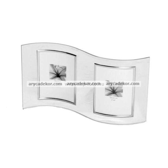 Álló hullámos dupla üveg képkeret ezüst szegéllyel 2/10x15 cm
