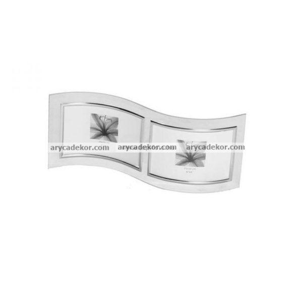 Fekvő hullámos dupla üveg képkeret ezüst szegéllyel 2/10x15 cm