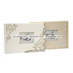 Bőrhatású esküvői vendégkönyv 18x25 cm
