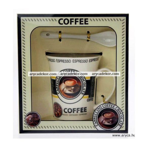 Kerámia kávés bögre kiskanállal