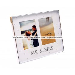 Esküvői dupla képkeret paszpartuval 10x15 cm (Mr & Mrs)