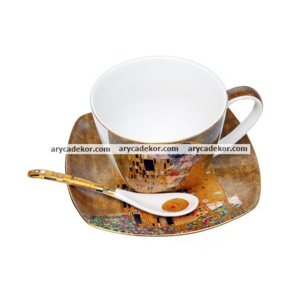 Klimt porcelán csészék kiskanállal, díszdobozban