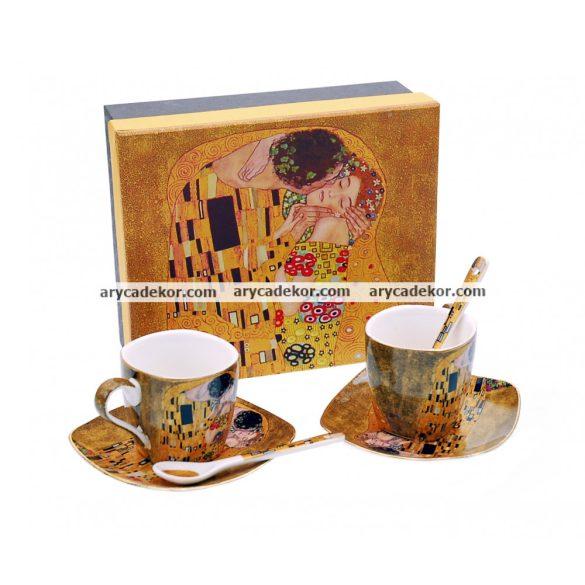 Gustav Klimt porcelán eszpresszó szett díszdobozban,