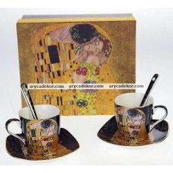 Porcelán eszpresszó szett kiskanállal, díszdobozban, Klimt, fekete