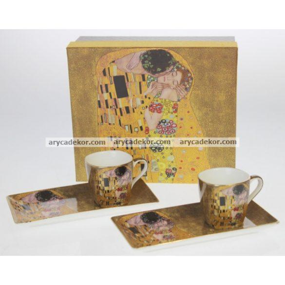 Klimnt porcelán csésze és tálca szett, díszdobozban.