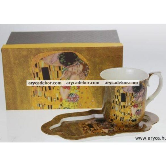 Porcelán csésze díszdobozban, tálcával, Klimt, barna