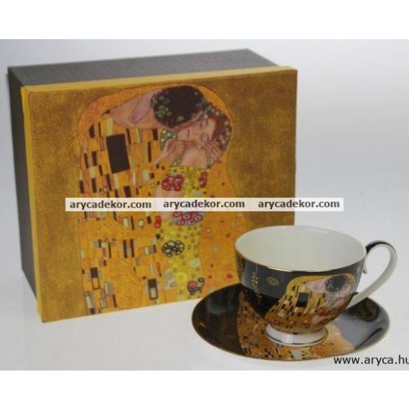 Porcelán csésze és csészealj, Klimt, fekete