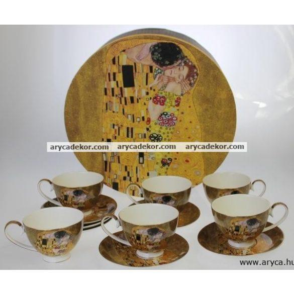 Porcelán csésze és csészealj szett, 6db, Klimt, barna