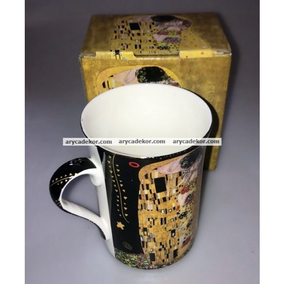 Klimt fekete porcelán bögre 2,5 dl