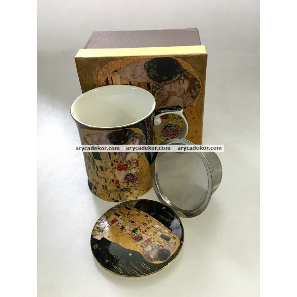 Porcelán csésze szűrővel és fedéllel, Klimt, fekete