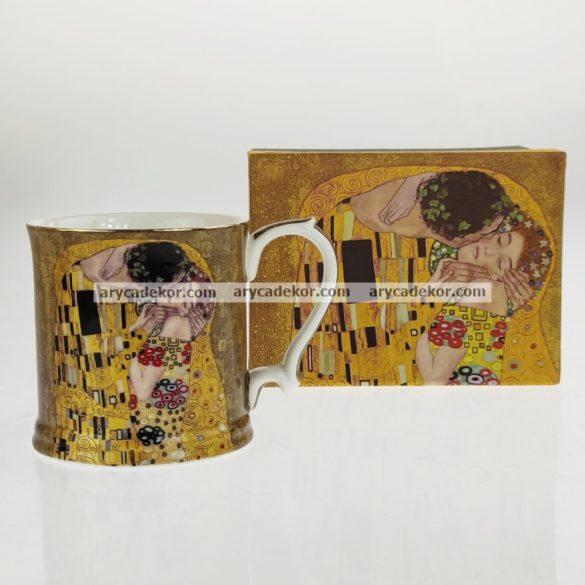 Porcelán bögre, Klimt, barna, közepes